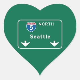 Seattle, WA Road Sign Heart Sticker