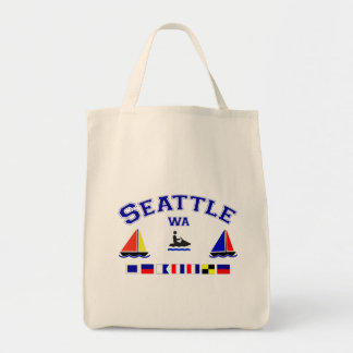 Seattle WA Signal Flags Grocery Tote Bag