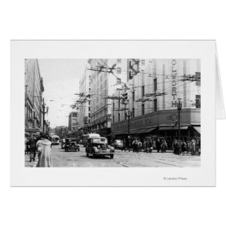 Seattle, WA Street Scene Downtown Photograph Card