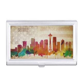 Seattle, WA   Watercolor City Skyline Business Card Holder