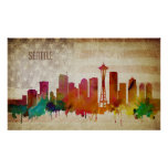 Seattle, WA | Watercolor City Skyline Poster
