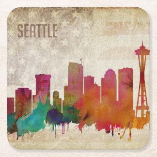 Seattle, WA| Watercolor City Skyline Square Paper Coaster