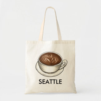 Seattle, Washington Coffee Cup Latte Tote Bag