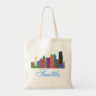 Seattle Washington Downtown City Skyline in Colors Budget Tote Bag