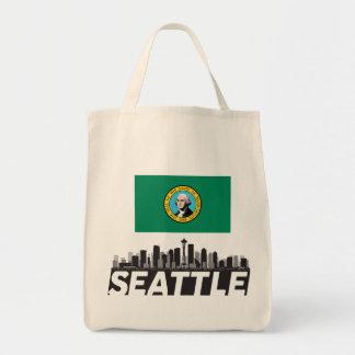 Seattle Washington Flag Skyline Grocery Tote Bag