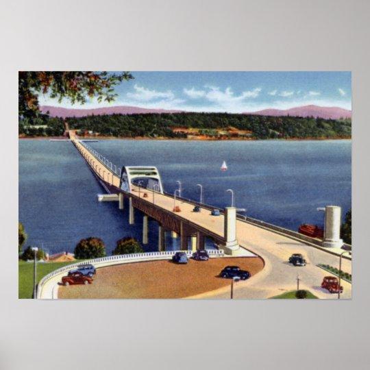Seattle Washington Lake Washington Floating Bridge Poster