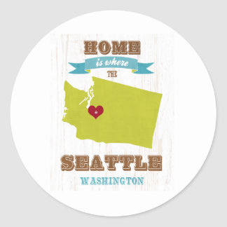 Seattle, Washington Map – Home Is Where Round Stickers