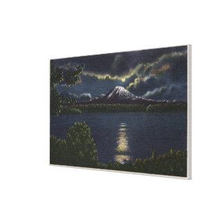 Seattle, Washington - Moonlit View of Mt. Canvas Print