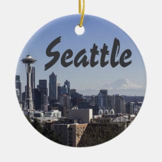 Seattle Washington scene Round Ceramic Decoration