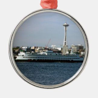 Seattle Washington Silver-Colored Round Decoration