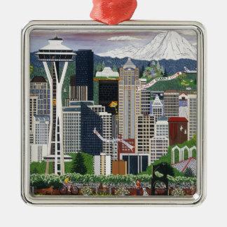 Seattle Washington Silver-Colored Square Decoration