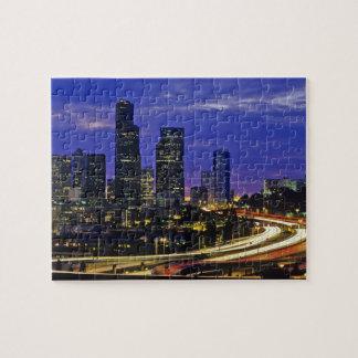 Seattle, Washington skyline at night Jigsaw Puzzle