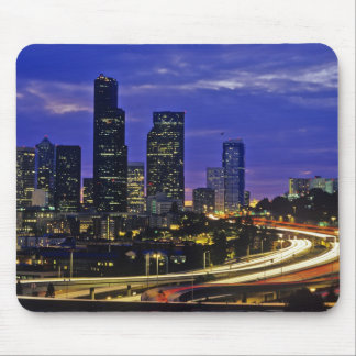Seattle, Washington skyline at night Mousepads