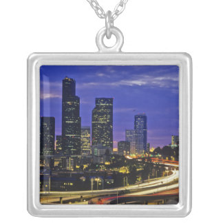 Seattle, Washington skyline at night Silver Plated Necklace