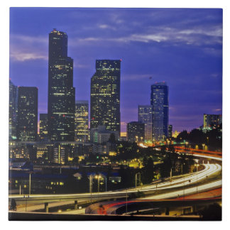 Seattle, Washington skyline at night Tile