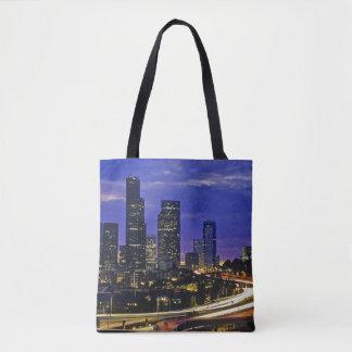 Seattle, Washington skyline at night Tote Bag