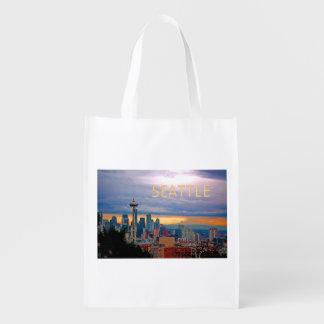 Seattle Washington Skyline at Sunset TEXT SEATTLE