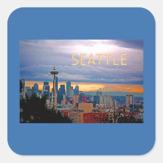 Seattle Washington Skyline at Sunset TEXT SEATTLE Square Sticker