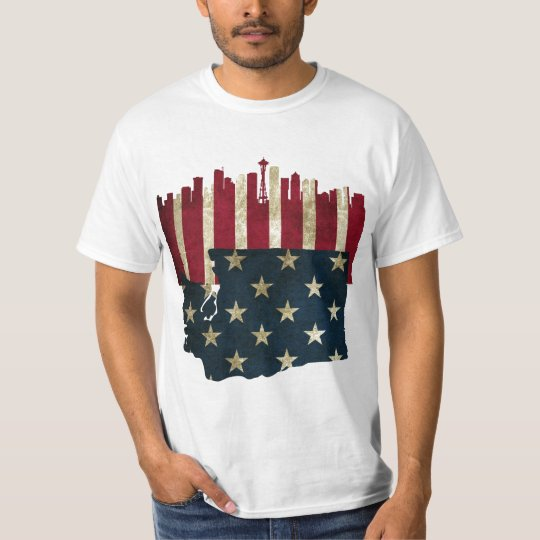 Seattle, Washington Skyline Flag Shirt