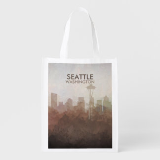Seattle, Washington Skyline IN CLOUDS Reusable Grocery Bag
