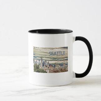 Seattle Washington Skyline in Fog and Rain