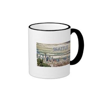 Seattle Washington Skyline in Fog and Rain Ringer Mug