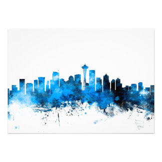 Seattle Washington Skyline Personalised Announcements