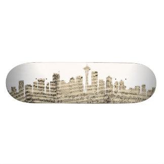 Seattle Washington Skyline Sheet Music Cityscape 21.6 Cm Skateboard Deck