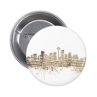 Seattle Washington Skyline Sheet Music Cityscape 6 Cm Round Badge