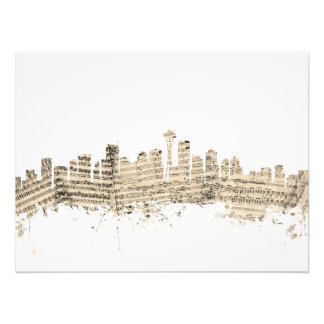 Seattle Washington Skyline Sheet Music Cityscape Art Photo