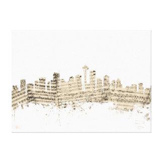 Seattle Washington Skyline Sheet Music Cityscape Stretched Canvas Print