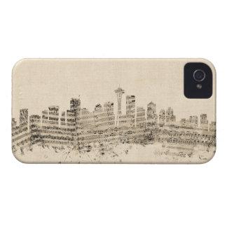 Seattle Washington Skyline Sheet Music Cityscape Case-Mate iPhone 4 Case
