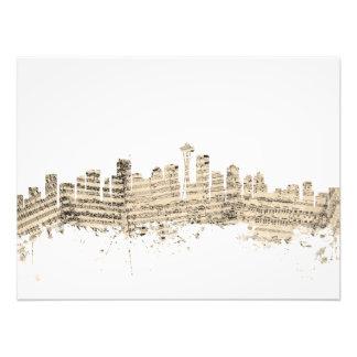 Seattle Washington Skyline Sheet Music Cityscape Photo Art