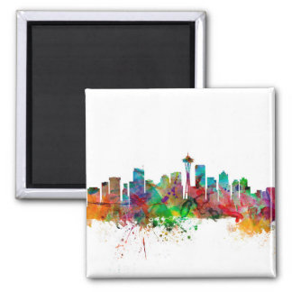 Seattle Washington Skyline Square Magnet