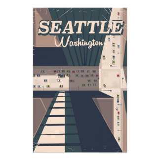 Seattle, Washington state Travel poster Customized Stationery