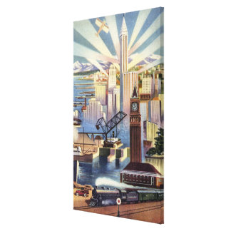 Seattle, Washington - View of Downtown Canvas Print