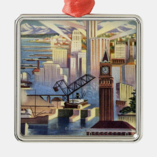 Seattle, Washington - View of Downtown Christmas Ornament