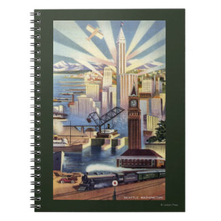 Seattle, Washington - View of Downtown Notebook