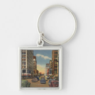 Seattle, WAView of 3rd Ave. & Pike St. Silver-Colored Square Key Ring