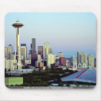 Seattle with Mount Rainier, Washington State, U.S. Mousepad