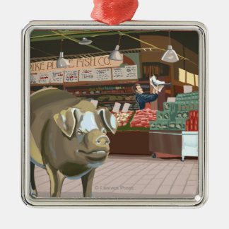 SeattleFish Toss and Bronze Pig at Pike Place Christmas Ornament
