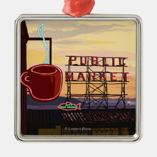 SeattlePike Place Market Sign and Water View Christmas Ornament