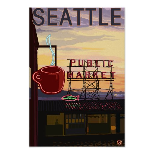 SeattlePike Place Market Sign and Water View Posters