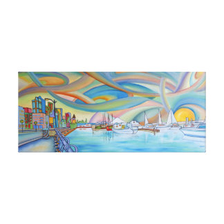 Seattle's aquarium and Mt. Rainier, oil painting o Gallery Wrap Canvas
