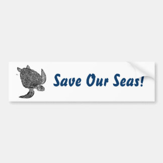 SeaTurtle, Save Our Seas! Bumper Sticker