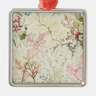 Seaweed design for silk material (w/c on paper) Silver-Colored square decoration