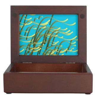 Seaweed on aqua memory boxes