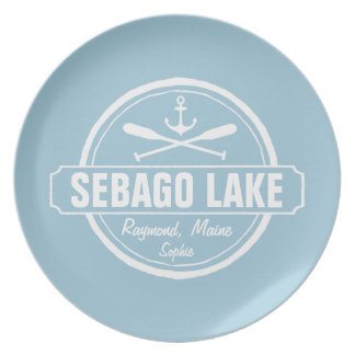 SEBAGO LAKE MAINE PERSONALIZED TOWN AND NAME DINNER PLATES