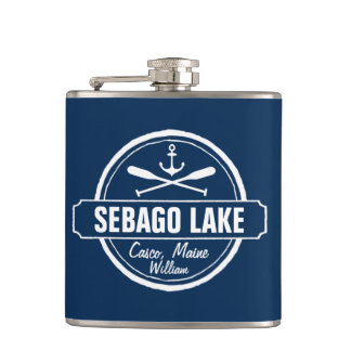 SEBAGO LAKE MAINE PERSONALIZED TOWN AND NAME HIP FLASK