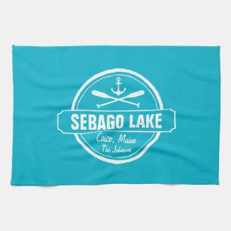 SEBAGO LAKE MAINE PERSONALIZED TOWN AND NAME KITCHEN TOWEL